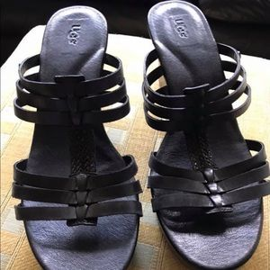 Uggs black leather wedge sandals